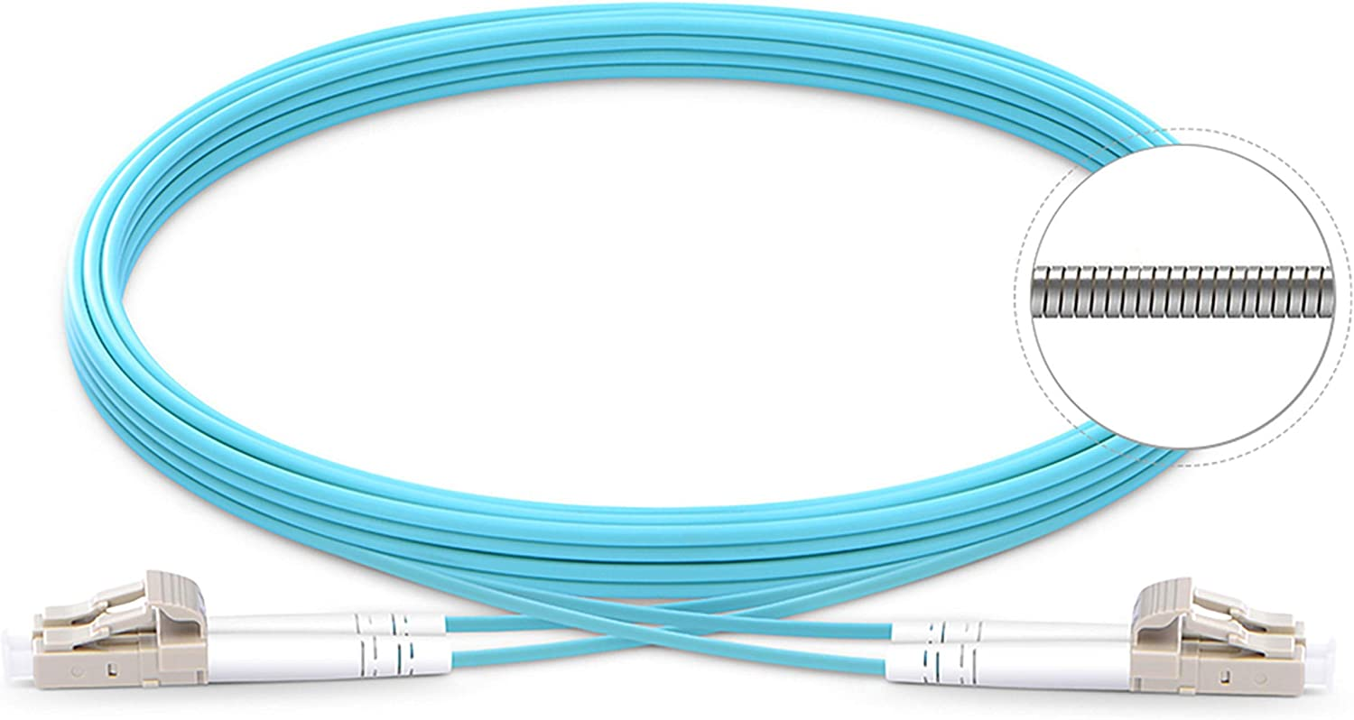 15M LC UPC to SC UPC Duplex OM4 Multimode 3.0mm Fiber Optic Patch Cord Cable