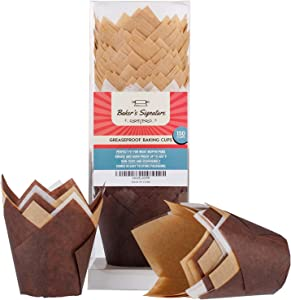 Baker's Signature Tulip Baking Paper Cupcake & Muffin Liners Pack of 150   Grease Resistant Wrappers – Will Not Curl or Burn – Comes in Convenient Packaging