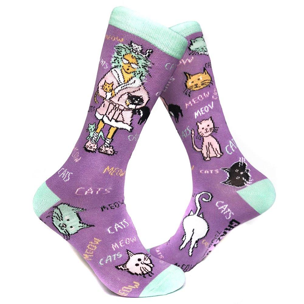 Women's Cat Lady Sock Funny Cute Pet Kitty Lover Footwear Crazy Dog Tshirts 018CatLadySOCK-WMN