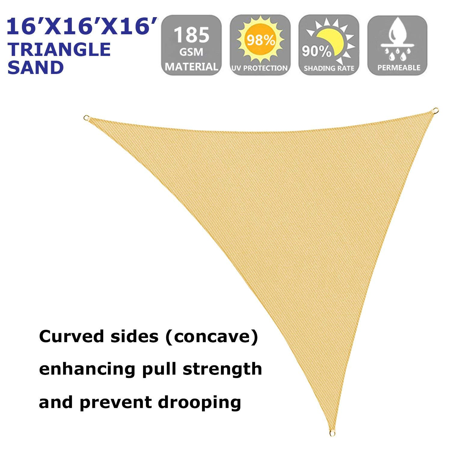 Shade Beyond 16 x 16 x 16 Sand Color Triangle Sun Shade Sail for Patio UV Block for Outdoor Facility and Activities