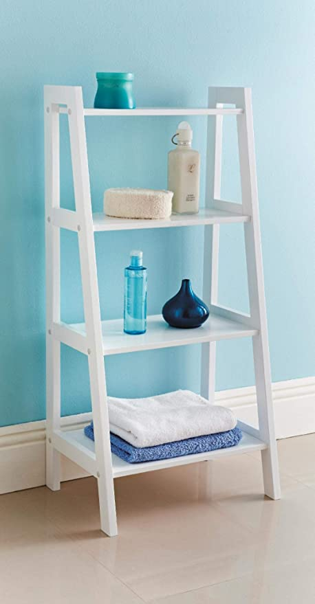 finest selection 4ee58 04b65 4 Tier Wooden Ladder Shelf Extra Storage Space Shelving Unit Bathroom -White