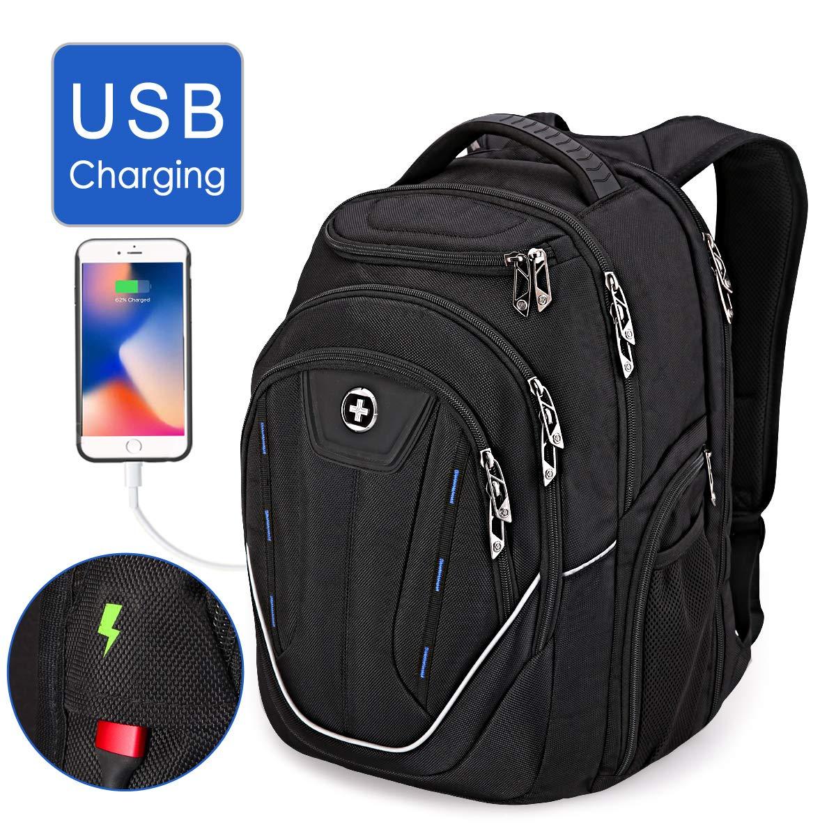 TSA Friendly, Swissdigital Water-Resistant Large Backpack, Business Laptop Backpack for Men with USB Charging Port/RFID Protection Big School Bookbag Fits 15.6 in Travel Laptop Backpack [Black] (B) by Swissdigital
