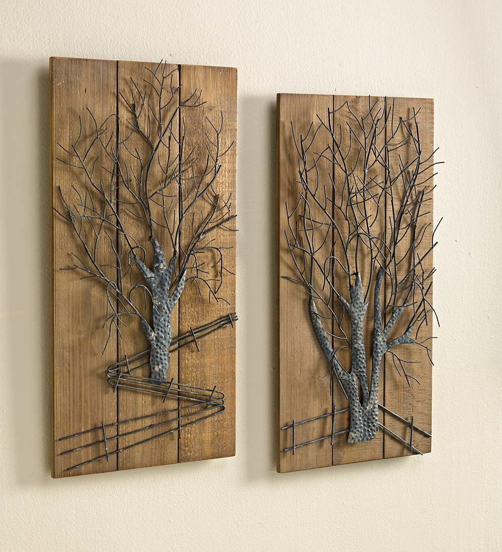 Plow Hearth Metal Tree on Wooden Wall Art, Set of 2