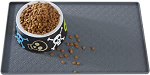 Petiry Feeding Mat, Non Slip Sillicone Waterproof Pet Bowl Pad,Raised Outer Border,Perfectly Stop Food Spills and Water Messes Out to Floor for Puppy,Medium and Large Dogs