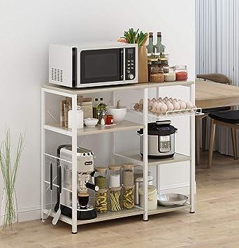 Dark Brown Mr IRONSTONE 3-Tier Kitchen Bakers Rack Utility Microwave Oven Stand Storage Cart Workstation Shelf
