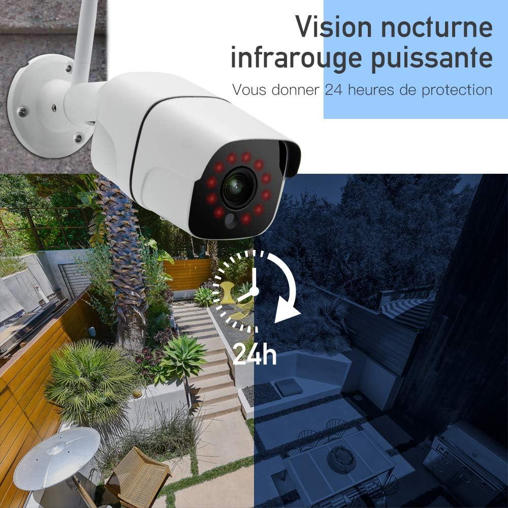 cam/éra de Surveillance WiFi 1080P avec Vision Nocturne // d/étection de Mouvement Cam/éra de Surveillance ext/érieure Veroyi Son bidirectionnel d/étection Automatique de mouvements /à Distance