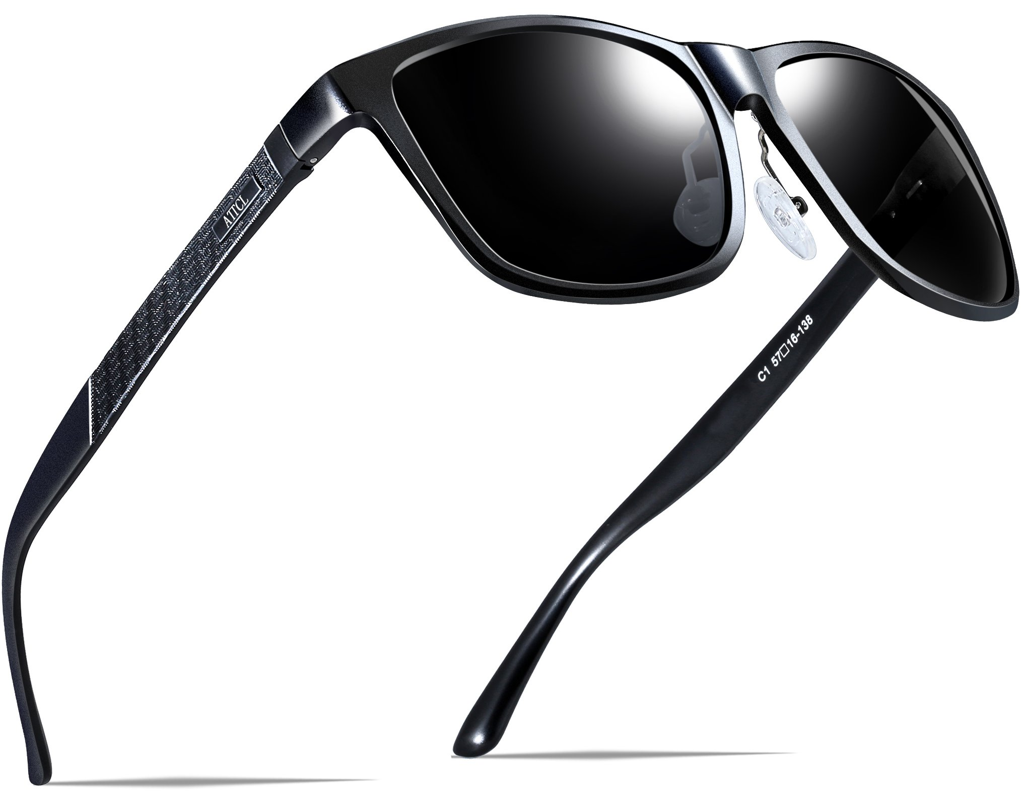 ATTCL Men's Hot Retro Metal Frame Driving Polarized Wayfarer Sunglasses For Men 18587black by ATTCL (Image #2)