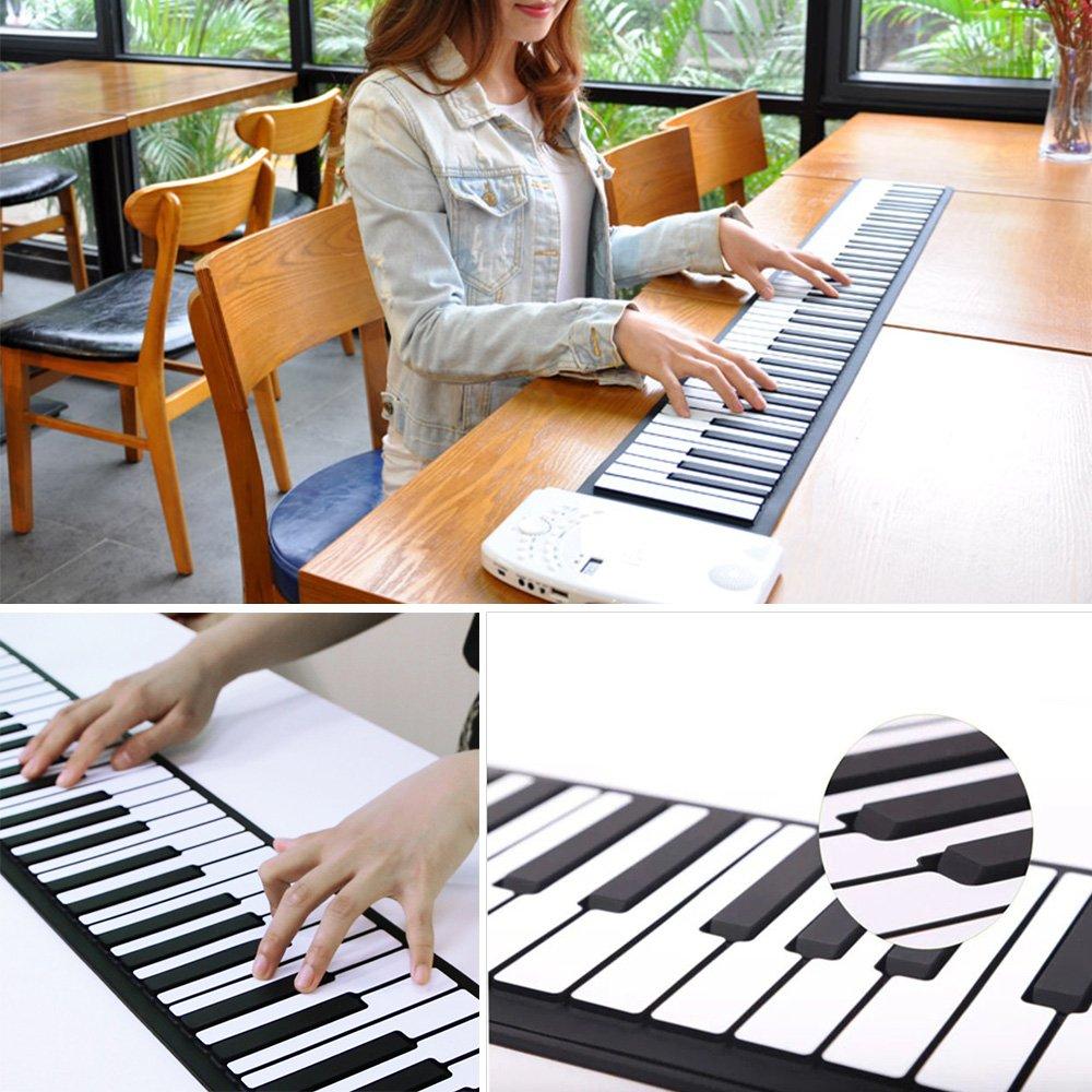DH-K61 Portátil 61 Teclas Flexible Roll Up Piano USB MIDI Teclado Electrónico Practica Instrumentos Musicales: Amazon.es: Instrumentos musicales