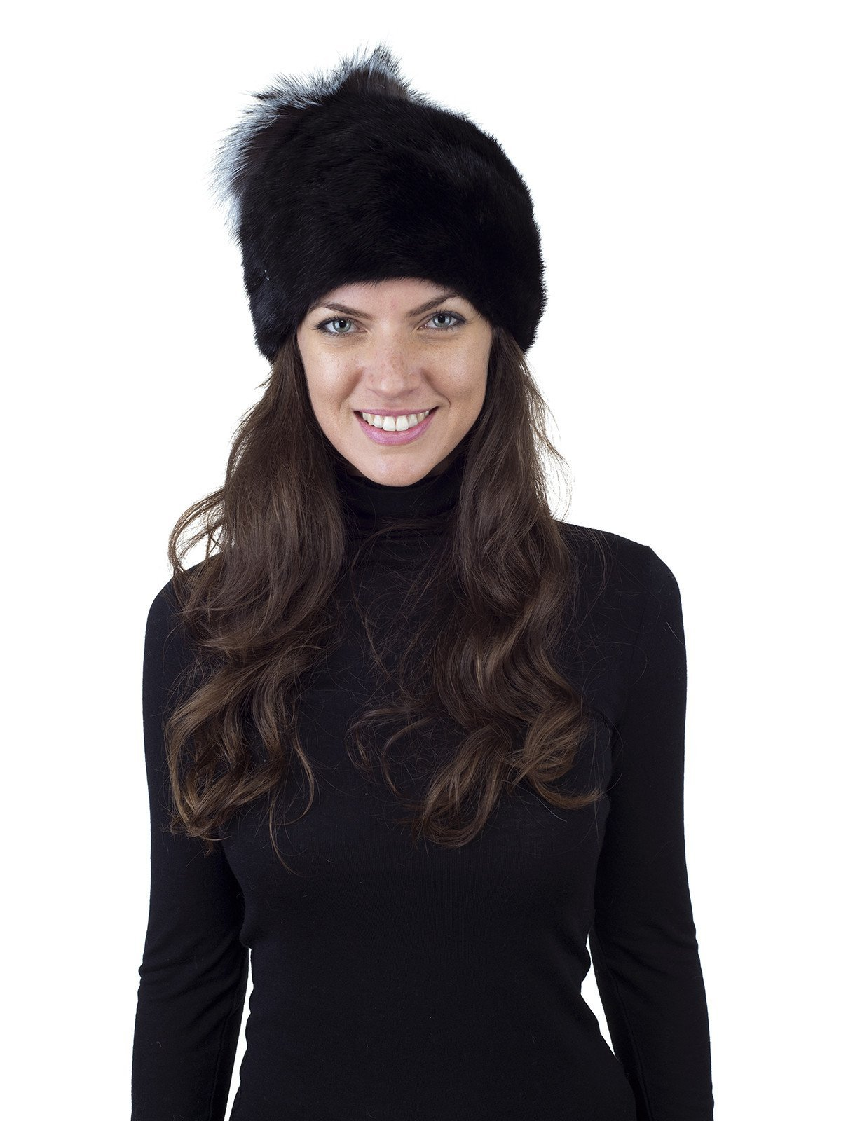 Floga New York Black Mink Hat With Silver Fox Top