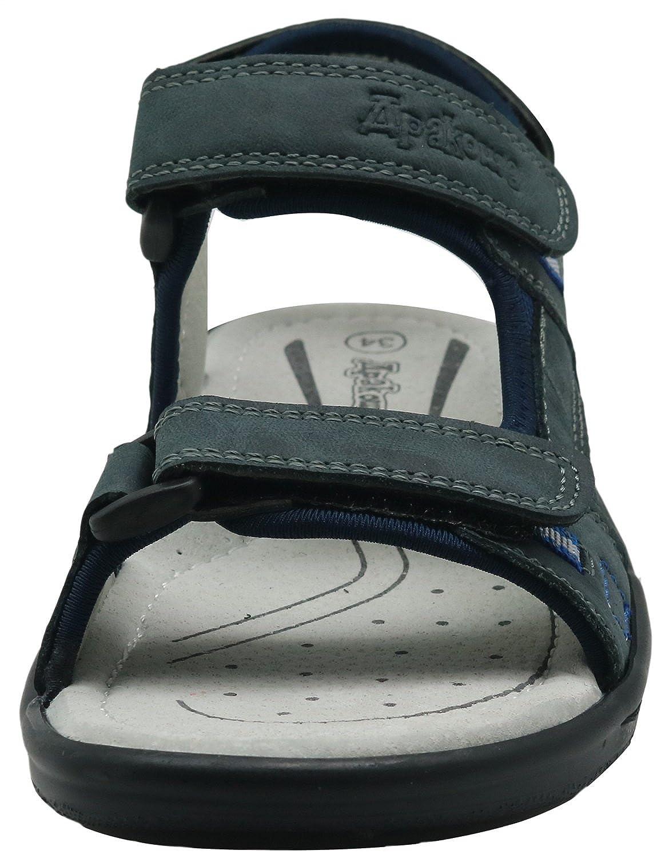 Little Kid//Big Kid Apakowa Kids Boys Outdoor Leather Three-Strap Sandal