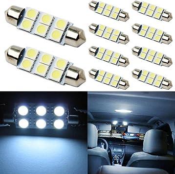 10PCS Super Bright White 41mm C5W COB LED Bulbs For Car Interior Dome Map Lights