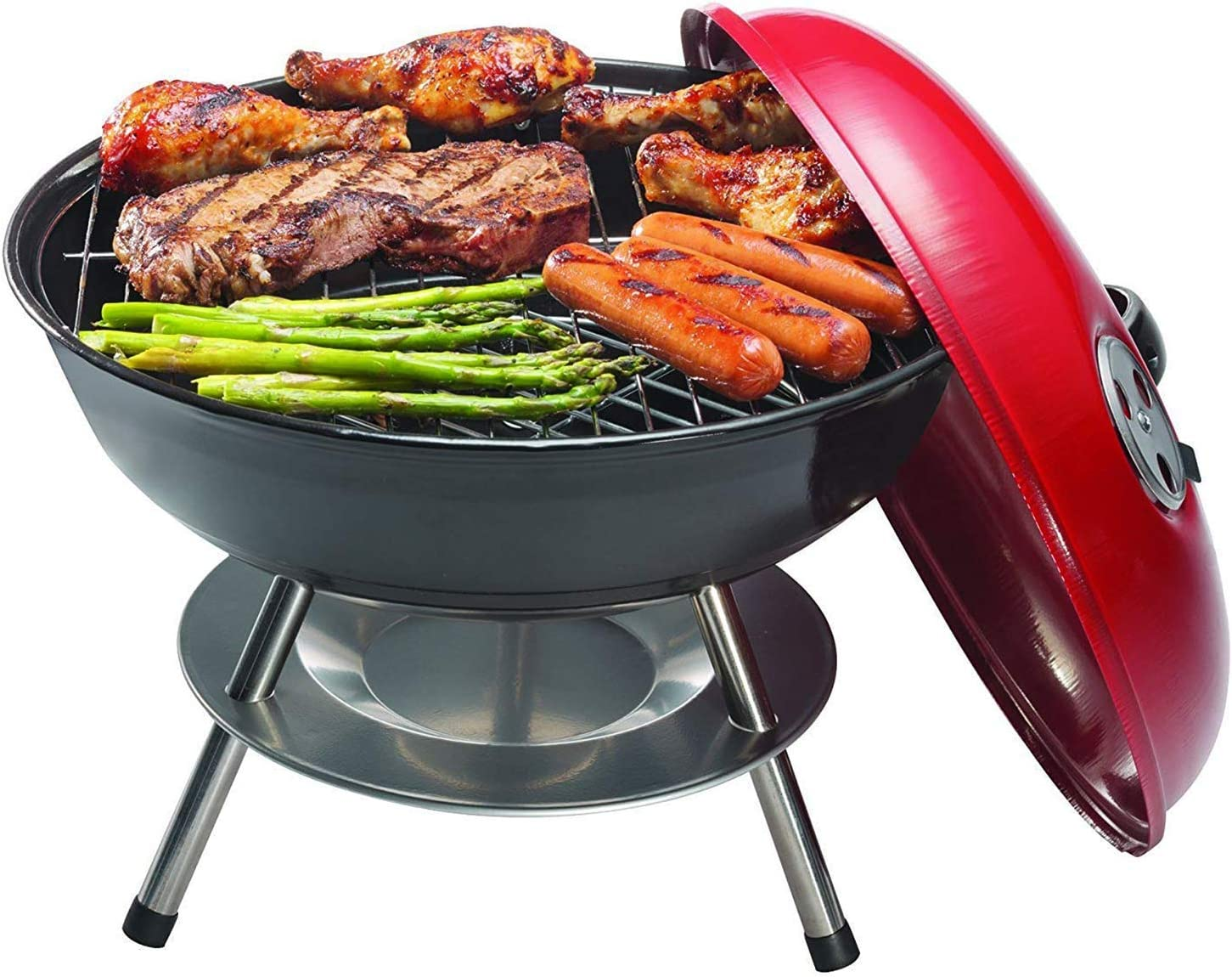 OVENTE GQR0400BR Charcoal, 14 Chrome-Plated Grill, Enamel-Coated Firebox, Brushed