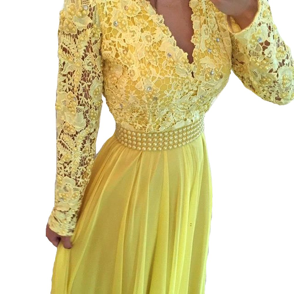 All Yellow LISA.MOON Women's V Neck Long Sleeves Back Hole Lace Applique Pearl Evening Gown