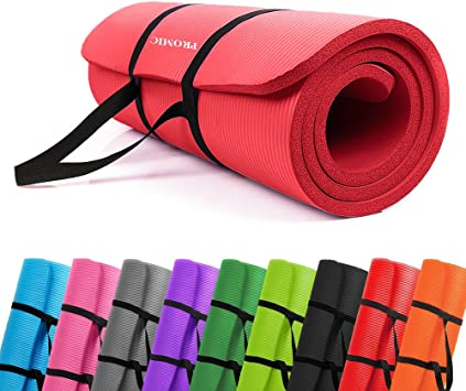 PROMIC All-Purpose 1/2 inches Extra Thick 72 inches Long High Density Anti-Tear Non-Slip Exercise Mat, Yoga Mat, Pilates Mat with Carrying Strap for ...