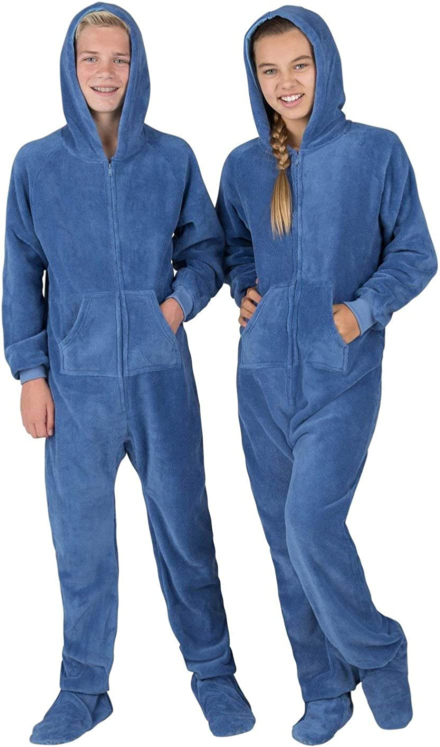 Family Matching Sea Blue Hoodie Onesies for Boys Men Footed Pajamas Women and Pets Girls