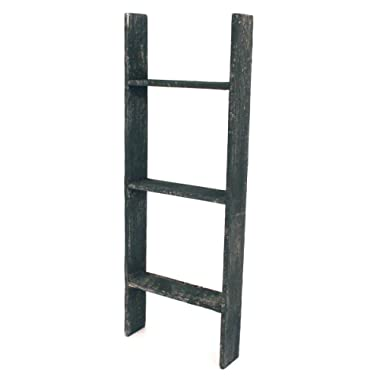 BarnwoodUSA Rustic Farmhouse Blanket Ladder - Our 3 ft Ladder can be Mounted Horizontally Vertically is Crafted from 100% Recycled Reclaimed Wood | No Assembly Required | Black