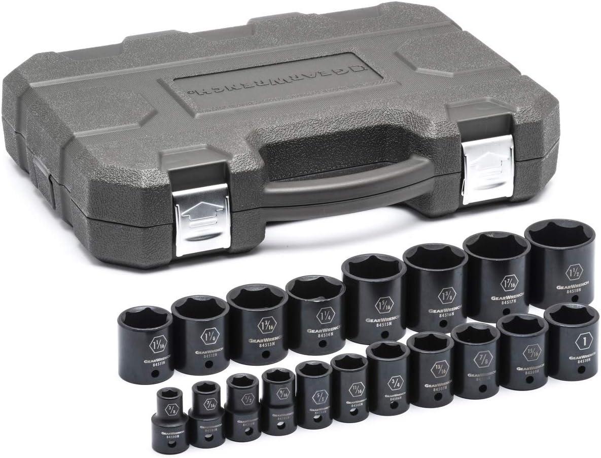 GEARWRENCH 8 Pc 3//8 Drive 6 Point Standard Impact SAE Socket Set 84910N