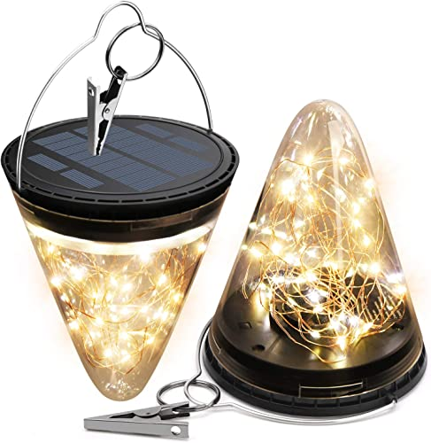 2200mAh Solar Lantern Hanging Garden Outdoor Lights JACKYLED 50 LED 2800K Warm Waterproof Table Lamp Decorative with 3 Lighting Modes for Yard Patio Pathway Party Decor 2-Pack