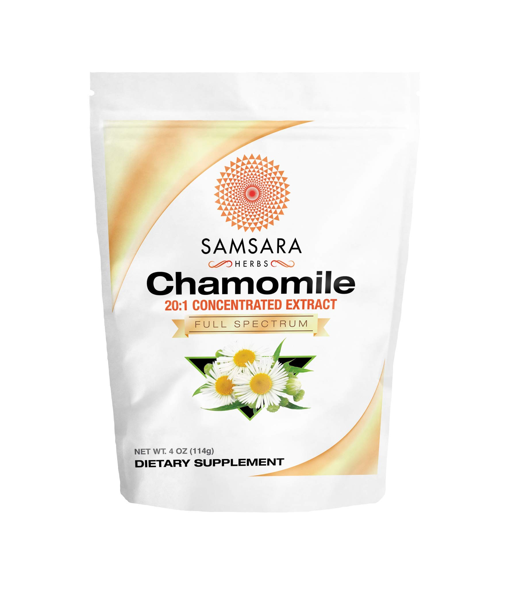 Samsara Herbs Chamomile Extract Powder - 20:1 Concentrated Extract - (4oz / 114g) Non - GMO, Potent, Highly Concentrated