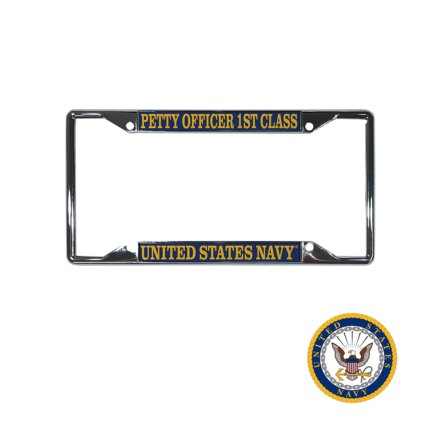 Desert Cactus US Navy Petty Officer 1st Class Enlisted Grades License Plate Frame for Front Back of Car Officially Licensed United States