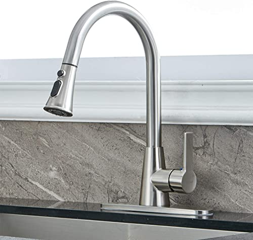 Modern Single Handle High Arc Pull Down Brushed Nickel Kitchen Faucet, Single Level Stainless Steel Kitchen Sink Faucet with Pull Out Dual Function Sprayer with Deck Plate