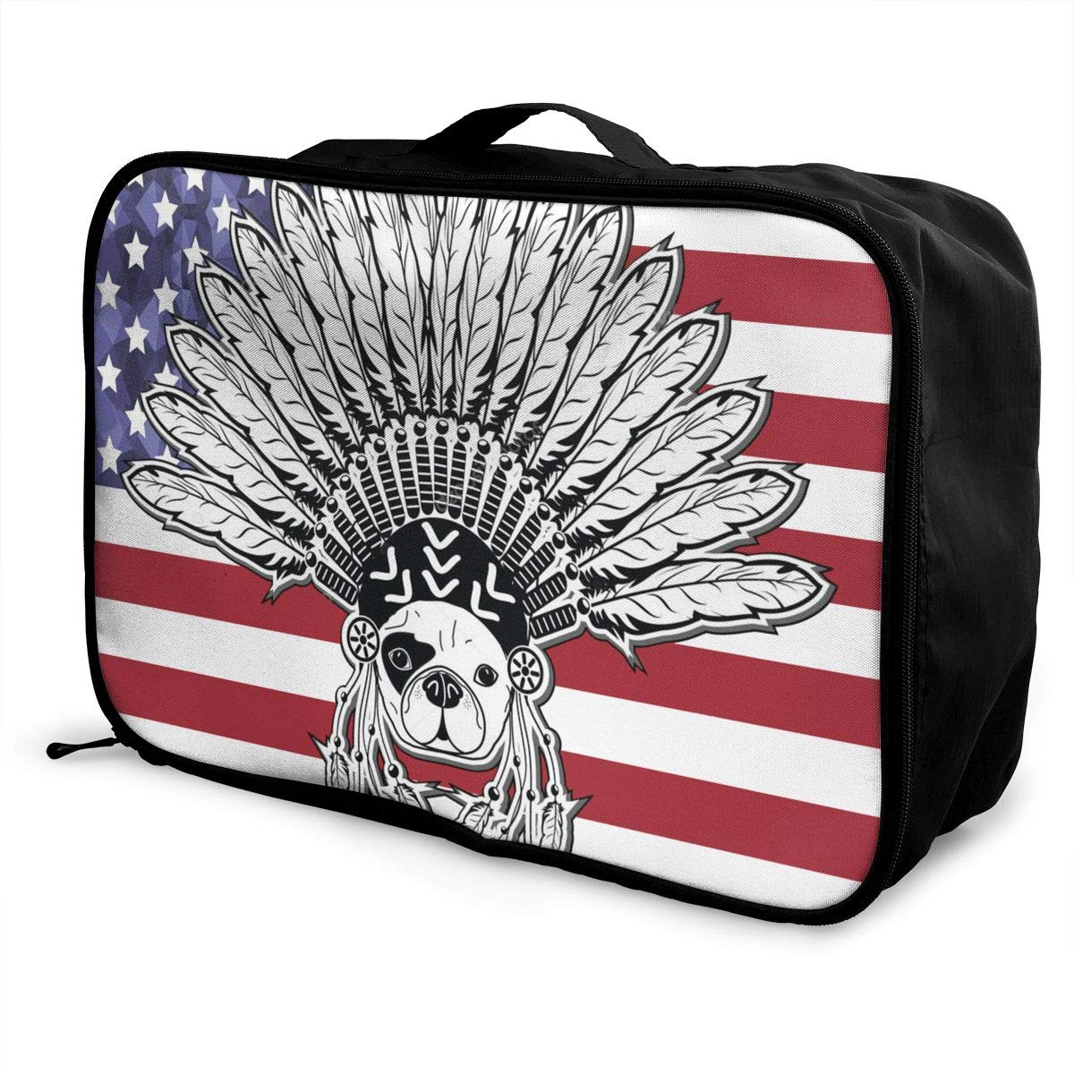 Warrior Style French Bulldog With Tribal Headdress Travel Bag Portable Luggage Bags Duffle Bag Large Capacity Travel Organizer Bag
