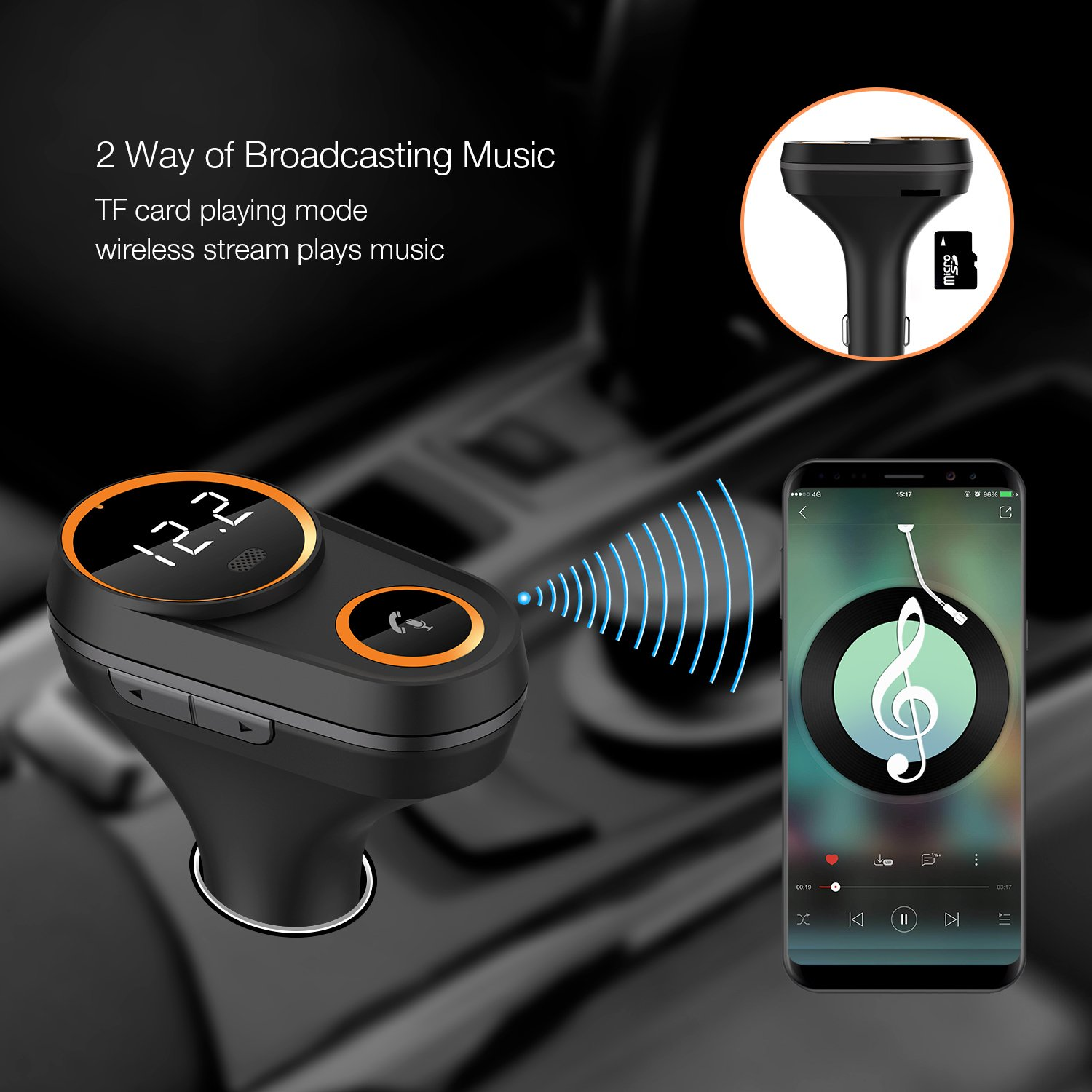 FM Transmitter, Frienda Wireless In-Car FM Radio Adapter 5 V/4.8 A Dual USB Ports Car Charger for iPhone iPad Samsung Android Phones, Hands-free Calling, MP3 Player, Support for Bluetooth by Frienda (Image #4)