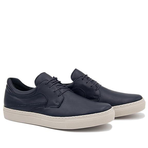 CASTELLANISIMOS Zapato Casual Blucher Hombre en Piel en Marino: Amazon.es: Zapatos y complementos