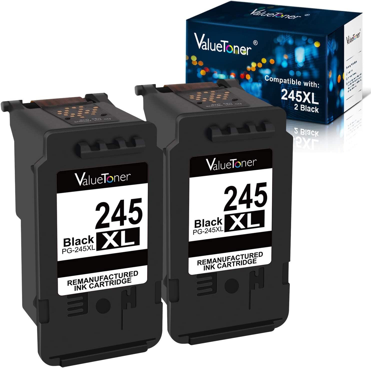 Valuetoner Remanufactured Ink Cartridge Replacement for Canon 245XL PG-245XL PG245XL PG-243 for PIXMA MX492 TR4520 MX490 MG3022 MG2522 MG2920 MG2420 MG2520 MG2922 MG2924 MG3029 iP2820 (Black, 2 Pack)