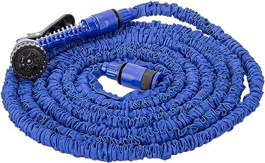 50ft//15m-Manguera De Jardín Extensible Flexible Tubo Expansión Con Pistola Azul