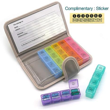 PuTwo Pastillero 7 días 28 compartimentos Pastillero Organizador Semanal Plástico con Estuche de Cuero Dispensador de