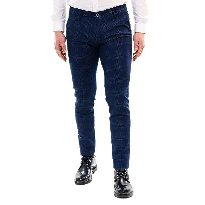 a9238d51b7 Pantaloni Uomo Elegante a Quadri Primavera Cotone Leggero Slim Primaverile  Chino Classico Pantalone Tasche Americane Blu Grigio Casual Estivo ...