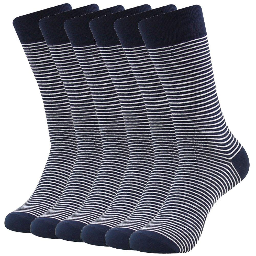 Business Suit Dress Socks, SUTTOS Men's Custom Elite Black White Fashion Striped Patterned Cotton Blend Mid Calf Long Tube Back to School Socks Groom Groomsmen Wedding Casual Crew Dress Socks Men,6 Pairs