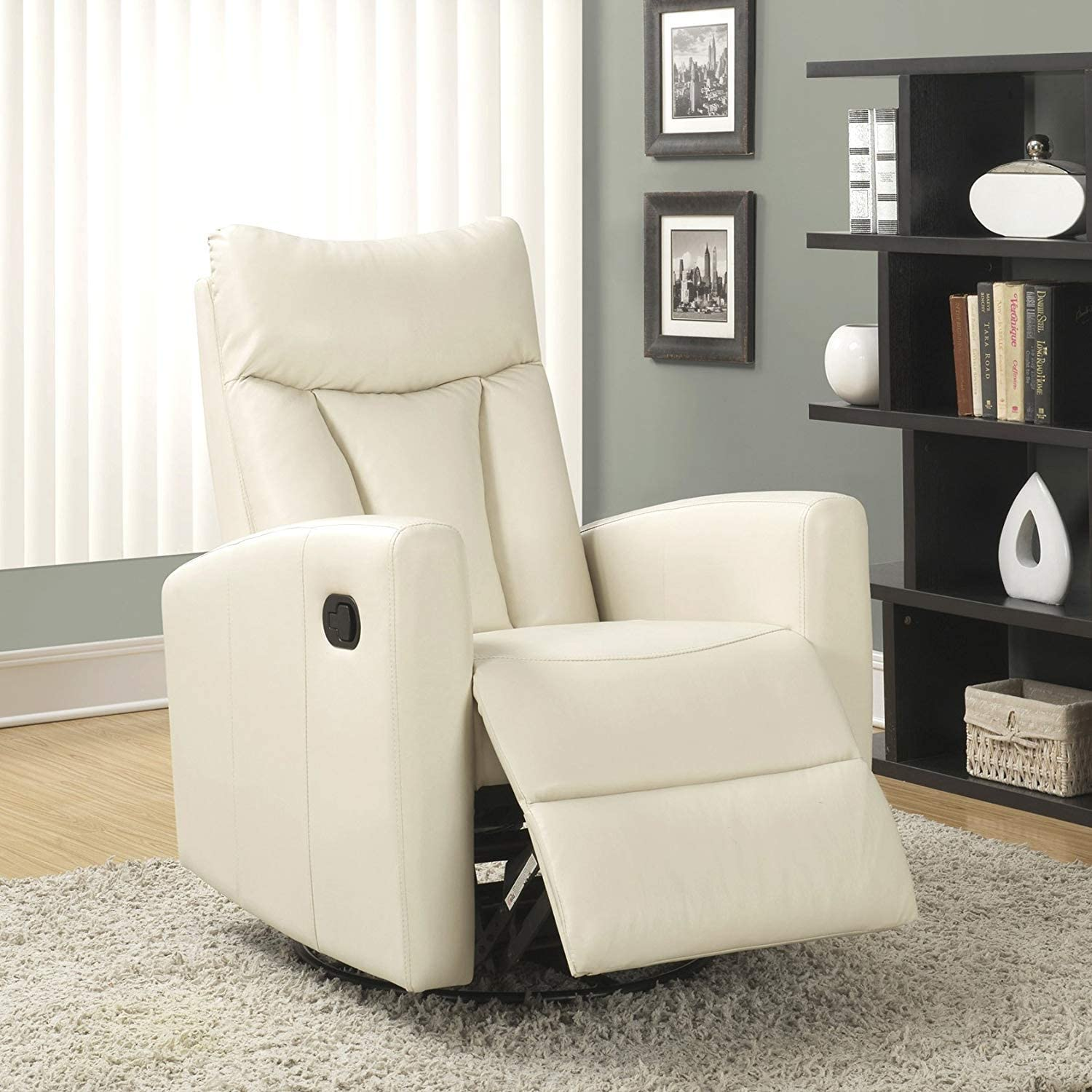 Monarch Specialties white Recliner chair, 30 L x 30 W x 41 H