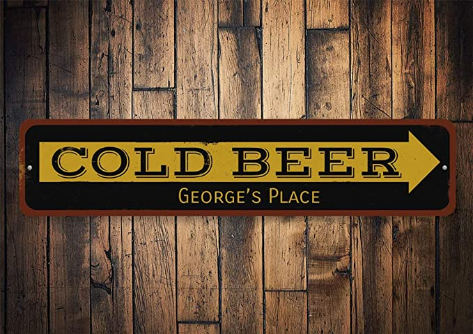 Cold Beer Arrow Sign Custom Sign ENSA1001660 Personalized Bartender Name Sign