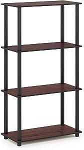 Furinno Turn-N-Tube 4-Tier Multipurpose Shelf Display Rack, Single, Dark Cherry/Black