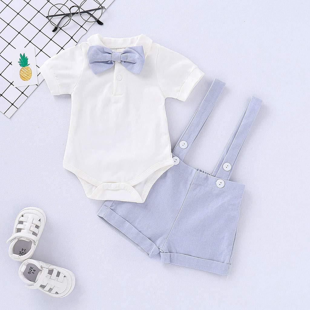 Covermason Baby Kleidung Baby Jungen Sommer Gentleman Bowtie Kurzarm Shirt Hosentr/äger Kurz Hose Outfit Set