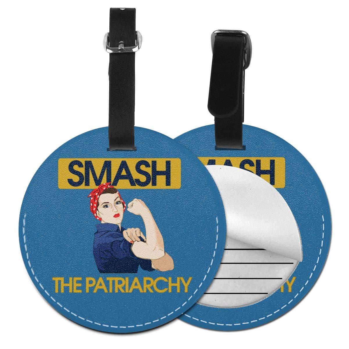 1pcs,2pcs,4pcs Smash The Patriarchy Feminist Pu Leather Double Sides Print Round Luggage Tag Mutilple Packs