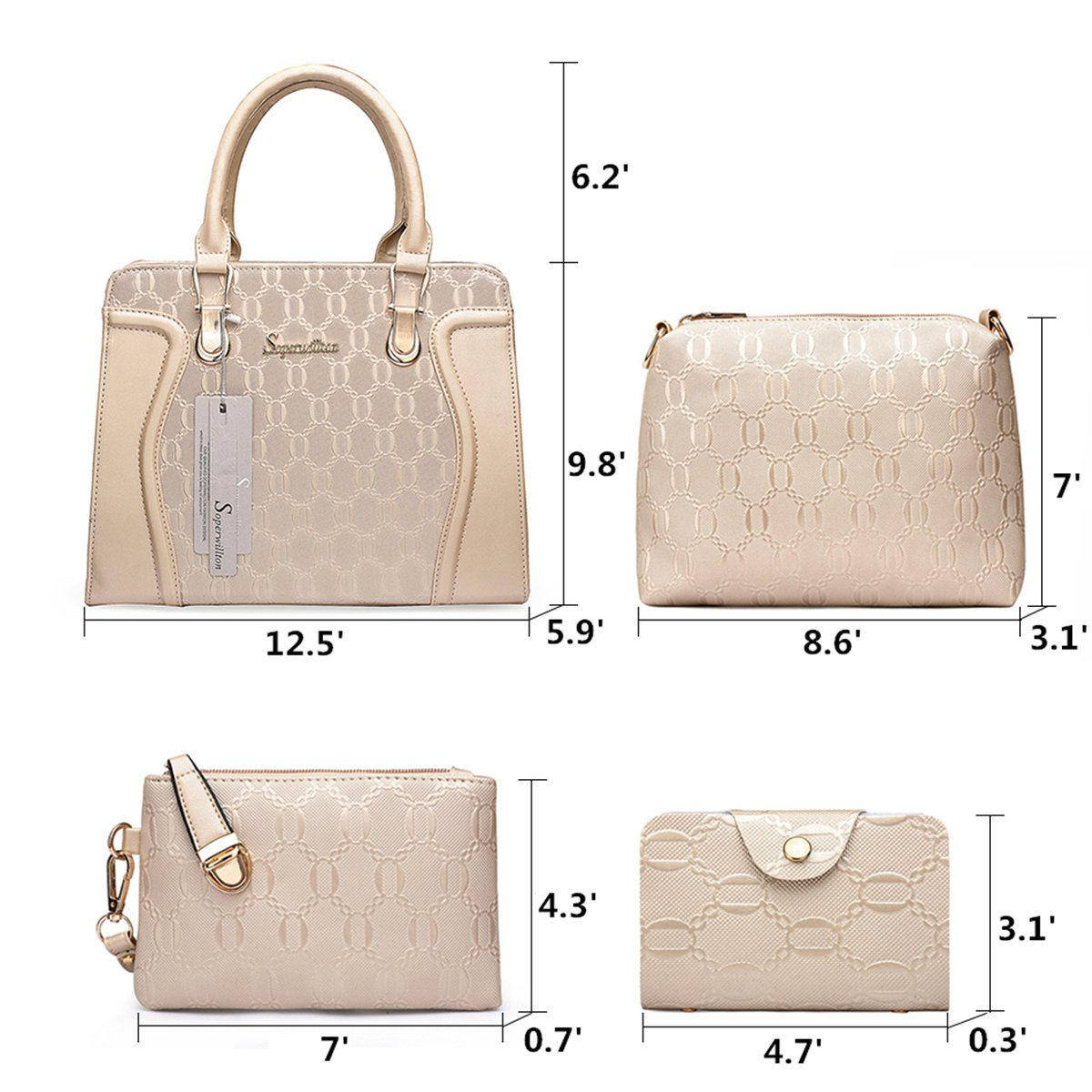 4596ad2eef8b Amazon.com  Soperwillton Handbag for Women Tote Bag Shoulder Bags Satchel  4pcs Purse Set  Shoes