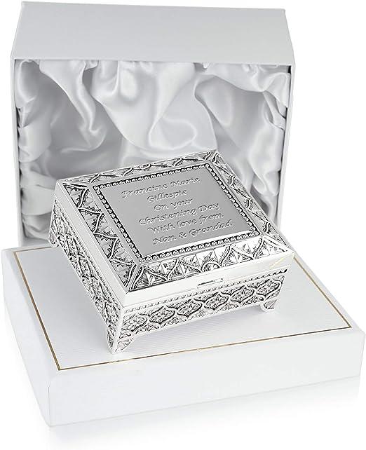 Regalo de bautizo, personalizable, caja de, chapado en plata, en ...