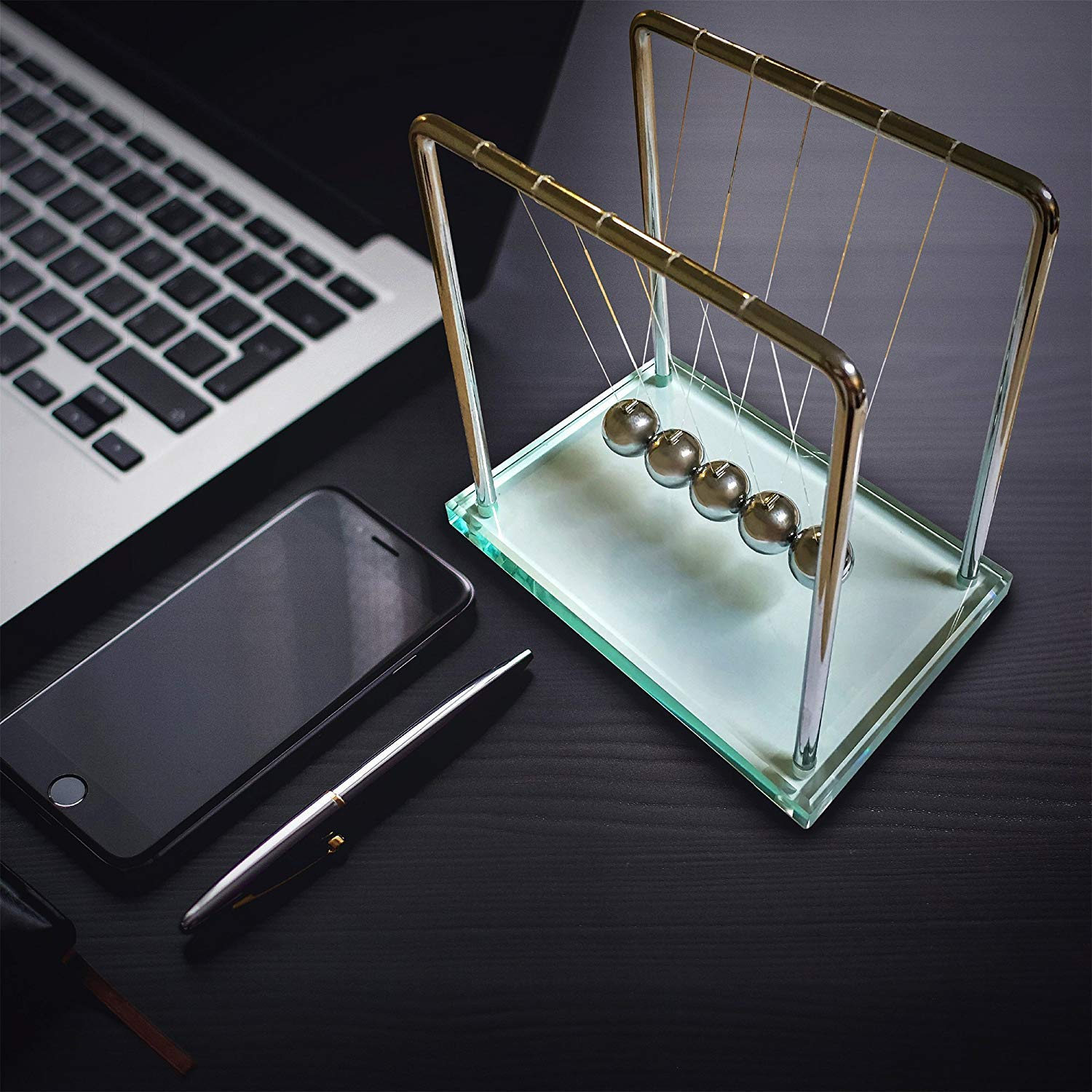 FAXADELLA GlassCradle Newtons Cradle with Luxury Glass Base - Stainless Steel Balls