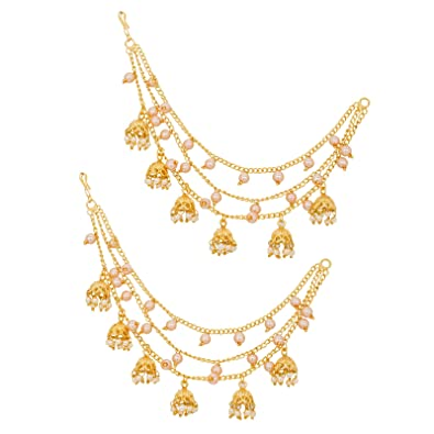 8130a12191ec9 The Luxor Gold Plated Long Chain Jhumki Hair Chain Accessories for Earrings  for Women (ACC6138)