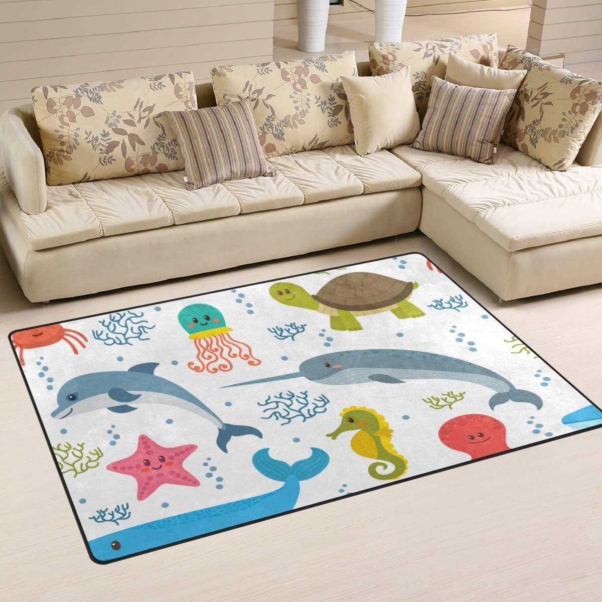 Vantaso Soft Foam Nursery Area Rugs Ocean Animals Dolphin Whale Octopus 31x20 inch Play Mats for Kids Playing Room Living Room Door Mat
