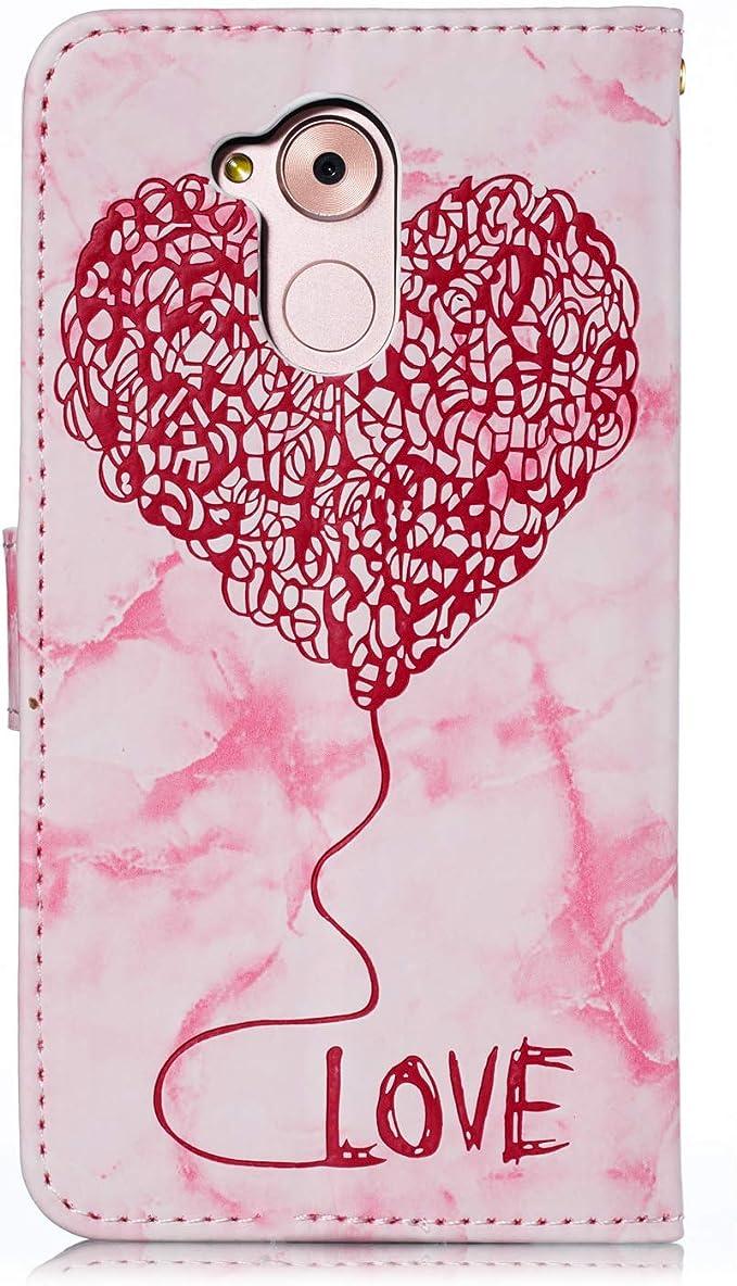 Ukayfe Coque Compatible avec Huawei Honor 6A PU lamour Marbre Portefeuille Cuir Housse Etui de Protection Magn/étique avec Fente pour Carte Coque Arri/ère Anti Choc Cover for Huawei Honor 6A-Pourpre