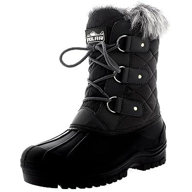f8c19e21264 Polar Womens Mid Calf Mountain Walking Tactical Waterproof Boots - Gray -  US5 EU36 -
