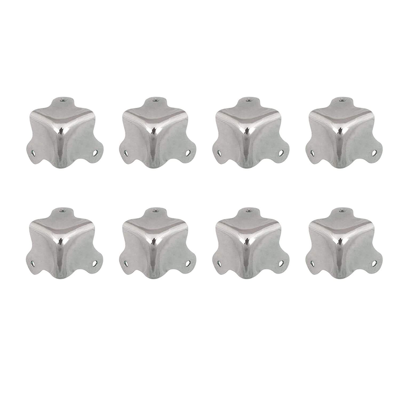 Karcy 8Pcs Stainless Steel Decorative Furniture Jewelry Box Chest Desk Edge Cover Corner Bracket Protector Corner Brace Guard Bronze Silver Tone,14mm x 14mm/0.55