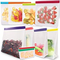 Reusable Food Storage Freezer Bags 10 Pack, Extra Thick LEAKPROOF Eco-Friendly Ziplock Gallon Lunch Bags for Marinate…