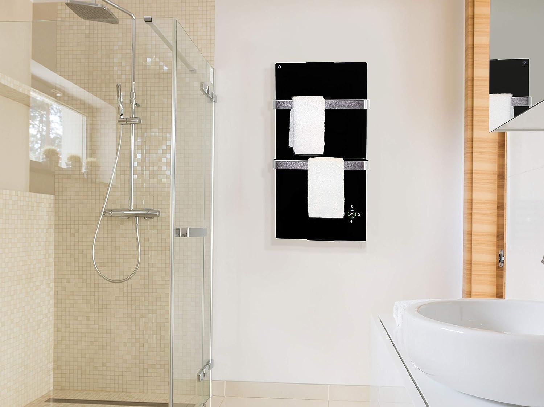color blanco PURLINE ZAFIR V600T W Radiador toallero el/éctrico de cristal templado control por App WIFI y programador semanal