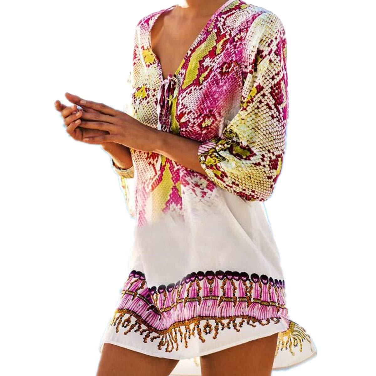 LOBTY Strandponcho Strandkleider Bikini Cover up Sexy Beach Bikini Dress Damen Bademode Boho Sommerkleid Sommer Blusen Strandhemd Chiffon Tunika Kimono