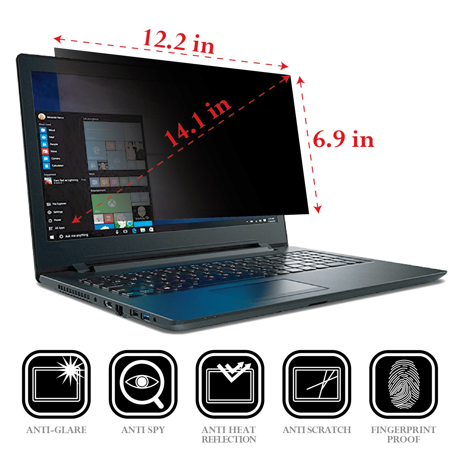 Flexzion Privacy Screen Filter Anti-Glare Protector Film Damage Scratch Proof for 14.1 Inch Widescreen Displays PC Laptop Desktop Notebook Computer LCD Monitor